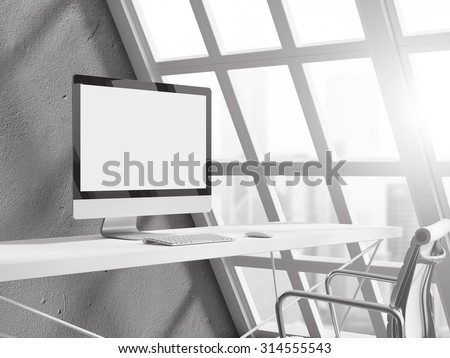 empty white workspace with computer on home or office - stock photo