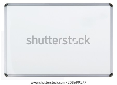 Empty whiteboard (magnetic board) isolated on white - stock photo