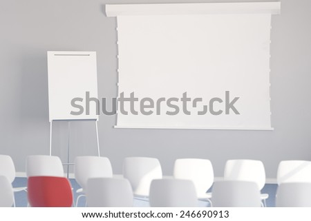 Empty whiteboard with chairs in a meeting room during a business conference (3D Rendering) - stock photo