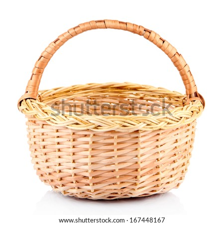 Empty wicker basket, isolated on white - stock photo