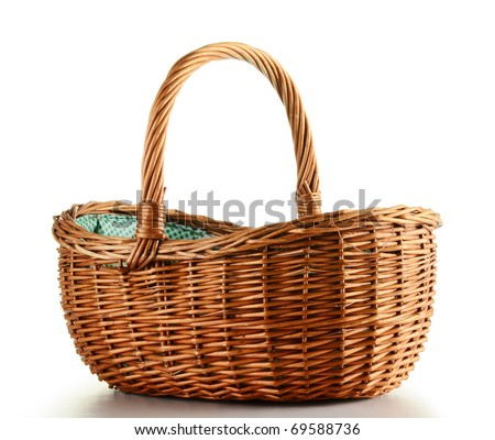 Empty wicker basket isolated on white - stock photo