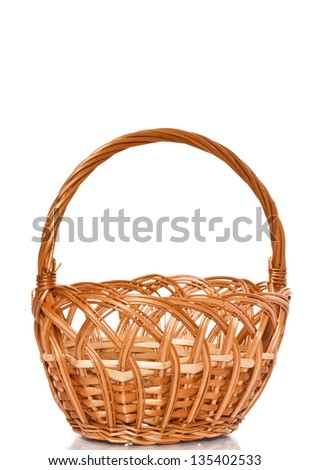empty wicker basket on a white background - stock photo