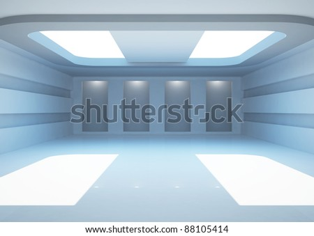 empty wide gallery with skylight and niches for exhibits, interior showroom - 3d illustration - stock photo