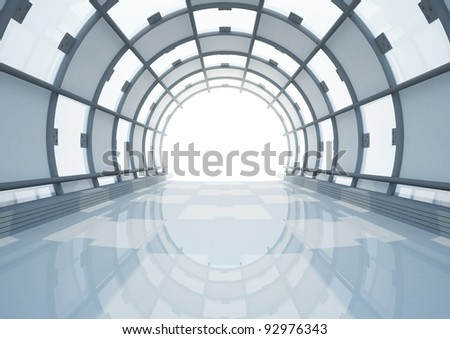 empty wide glass hall, futuristic spacious interior - 3d illustration - stock photo