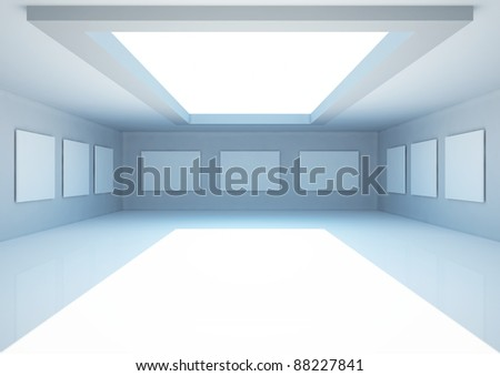 empty wide room with blank frames and skylight, gallery interior - 3d illustration - stock photo