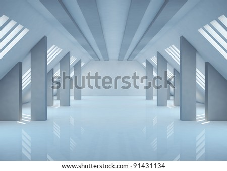 empty wide room with columns and narrow openings, abstract interior - 3d illustration - stock photo
