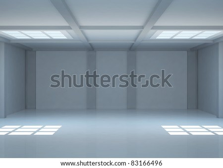 empty wide room with square windows on the ceiling and balks - 3d illustration - stock photo