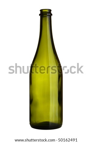 Empty wine bottle isolated over white background - stock photo