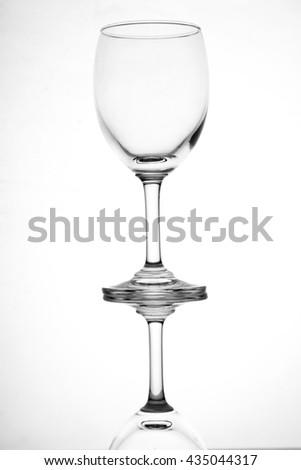 empty wine glass,empty glass. Close up - stock photo