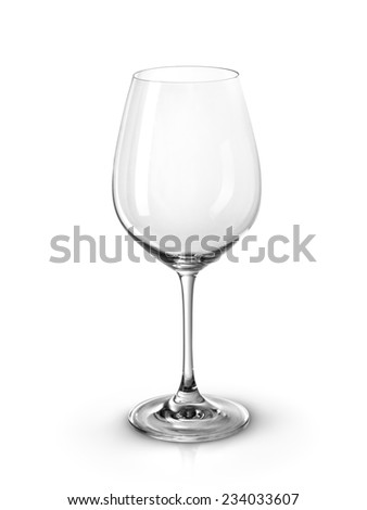 Empty wine glass isolated on a white background. Clipping path included - stock photo