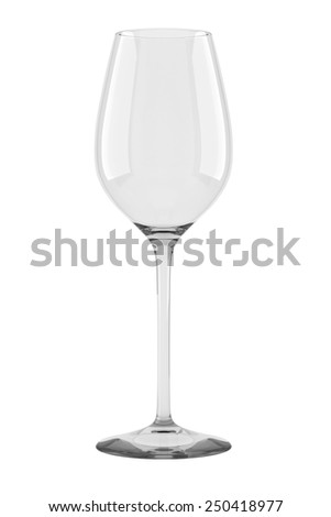 Empty wine glass isolated on white backgorund. - stock photo