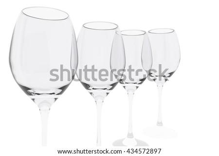 empty wine glass on isolated white background - stock photo