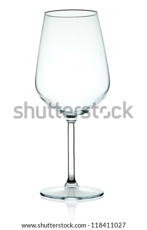 Empty wine glass on the wide white. - stock photo