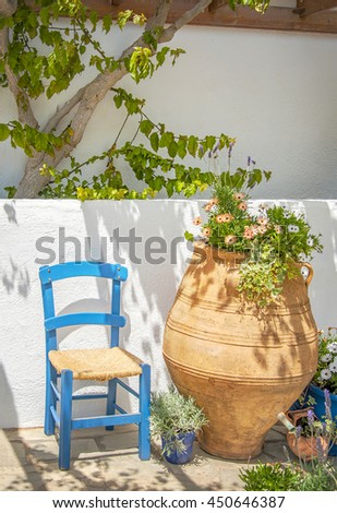 Empty wineglasses at garden party.  - stock photo