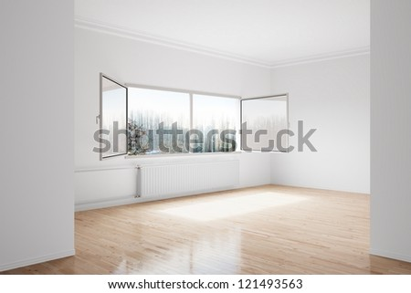 Empty winter room with large central heating device - stock photo