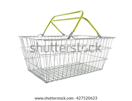 Empty Wire Shopping Basket on a white background - stock photo