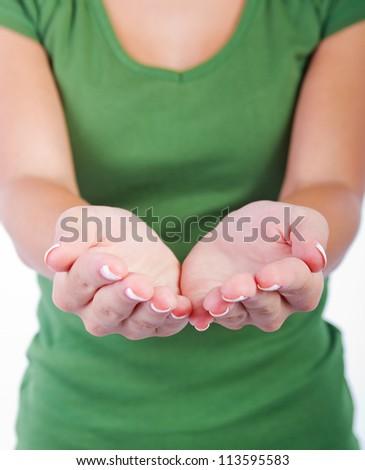 Empty woman hands - stock photo
