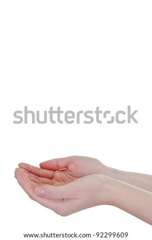 Empty woman's hand isolated on white, close-up profile angle shot - vertical - stock photo