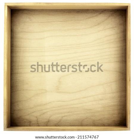 Empty wood box isolated on white background - stock photo