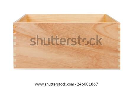 Empty Wood Box, isolated on white background - stock photo