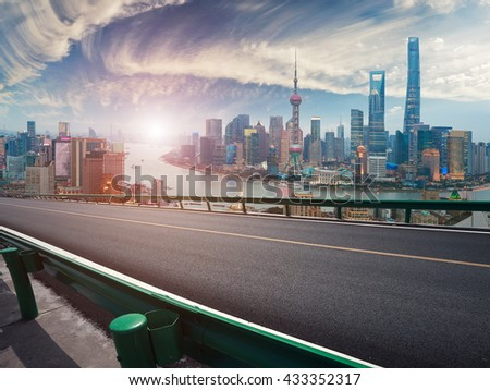 Empty wood floor textured with Aerial photography bird-eye view at Shanghai bund Skyline of sunrise - stock photo