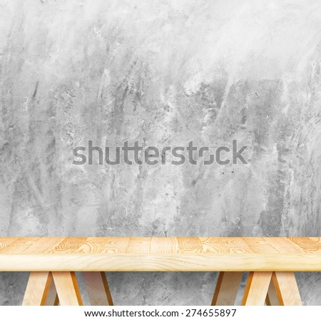 Empty wood modern table and grunge concrete wall in background,Mock up template for display of your product - stock photo