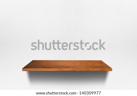Empty wood shelf on room wall, Loft style concept design  - stock photo
