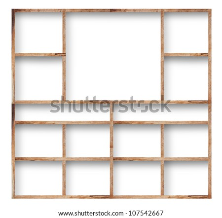 Empty wood shelf on wall, isolated on white background - stock photo