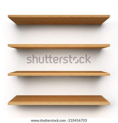 Empty wood shelves isolated on clean white background. - stock photo