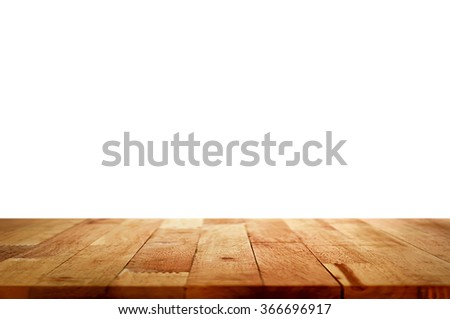 Empty wood table top on white background - can be used for display or montage your products - stock photo