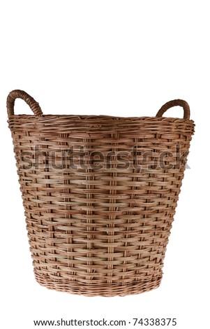Empty Wooden Basket on White Background - stock photo