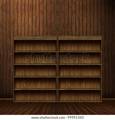 Empty wooden book shelf background illustration, computer graphic - stock photo