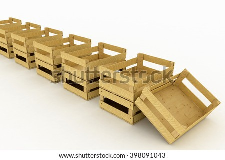 Empty wooden boxes. Containers for fruits and vegetables. 3D render Illustration on White Background. - stock photo