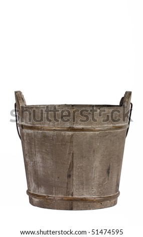 Empty wooden bucket - stock photo