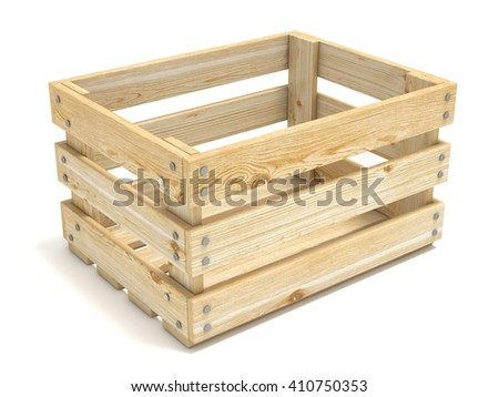 Empty wooden crate. Side view. 3D render illustration isolated on white background - stock photo