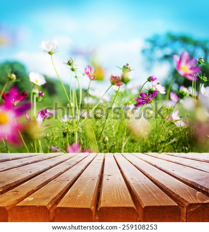 Empty wooden deck table over beautiful spring  garden background - stock photo