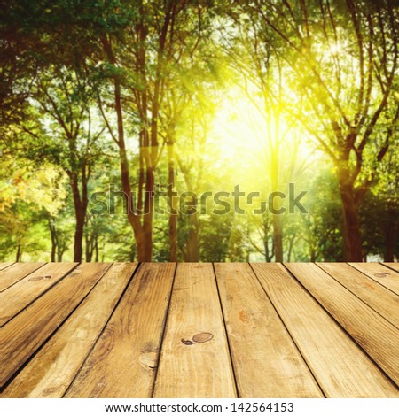 Empty wooden deck table over forest background - stock photo