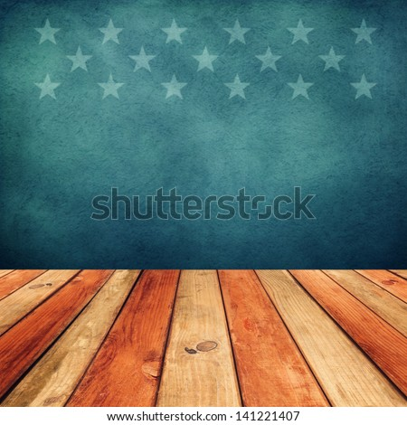 Empty wooden deck table over USA flag background. Independence day, 4th of July background. Ready for product display montage. - stock photo