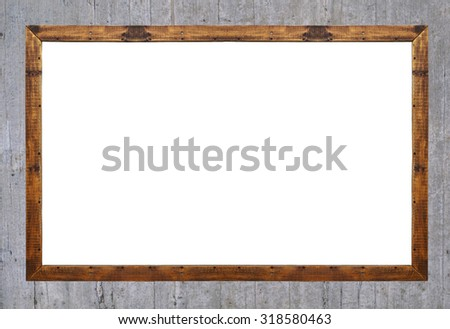 Empty wooden frame isolated on concrete background - stock photo