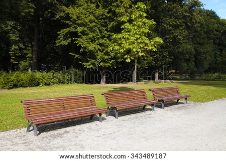 empty wooden park bench at the summer park, selective focus - stock photo