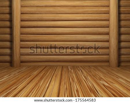 empty wooden room - stock photo