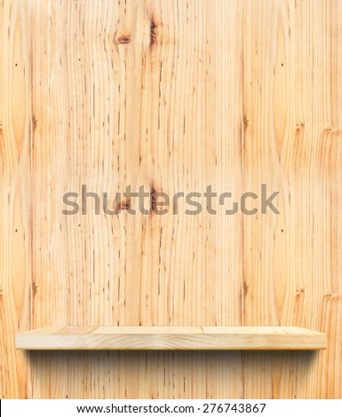 Empty Wooden shelf at light wooden wall,Template mock up for display of product,business presentation. - stock photo