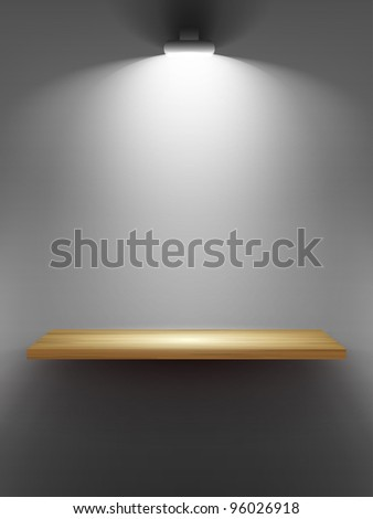 Empty wooden shelf on the wall, illuminated by searchlights. - stock photo