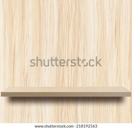 Empty  wooden shelf on wood decorative wall - stock photo