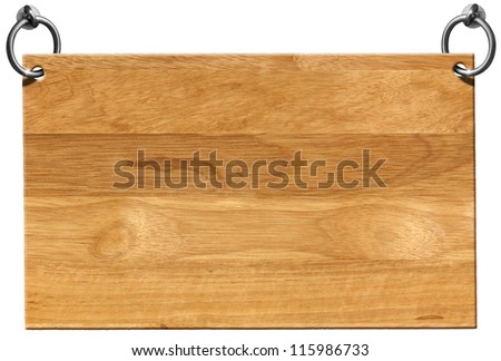 Empty Wooden Signboard with clipping path / Light Brown Wooden sign hanging on to two steel ring isolated on white - stock photo