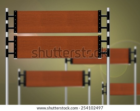 Empty wooden signs for promotional purposes - stock photo