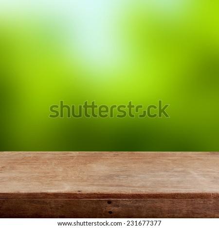 Empty wooden table - stock photo