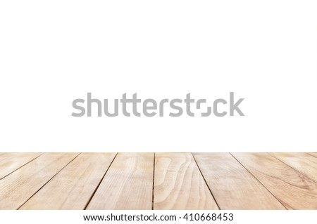 Empty wooden table isolated on a white background  - stock photo
