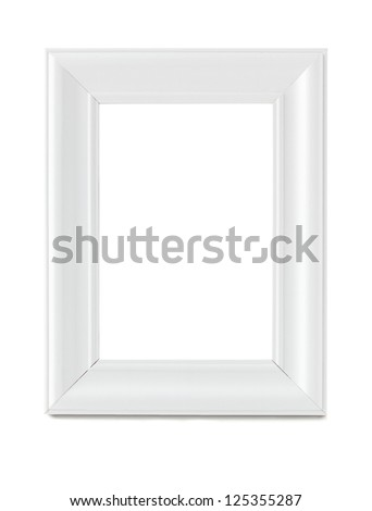 Empty wooden white picture frame isolated with clipping path - stock photo