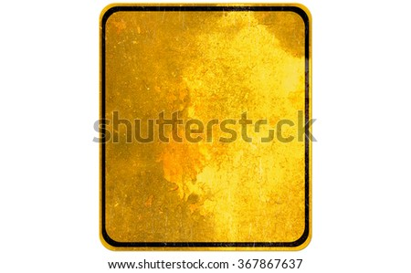 Empty yellow sign - danger attention and alert sign - stock photo